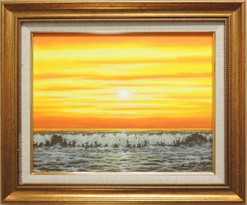 絵画 油絵 朝焼けの海 (朝隈敏彦) 送料無料 【海・山】【肉筆】【油絵】【富士】【6号】