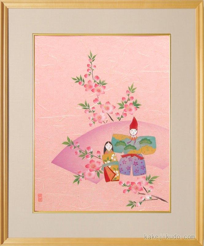 絵画 手染和紙額付 お雛様 (南川康夫) 送料無料 【肉筆】【エアブラシ】【花】【6号】