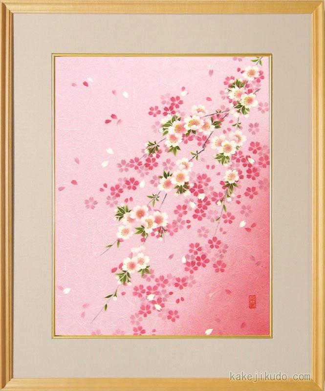 絵画 手染和紙額付 しだれ桜 (南川康夫) 送料無料 【肉筆】【エアブラシ】【花】【6号】