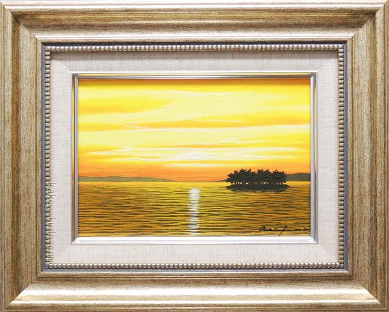 絵画 油絵 宍道湖 (朝隈敏彦) 送料無料 【肉筆】【油絵】【日本の風景】【サムホール】