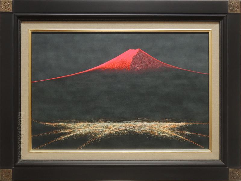 絵画 油絵 渡辺ムサシ 【赤富士】(P6号) 送料無料 【肉筆】【油絵】【富士】【6号】