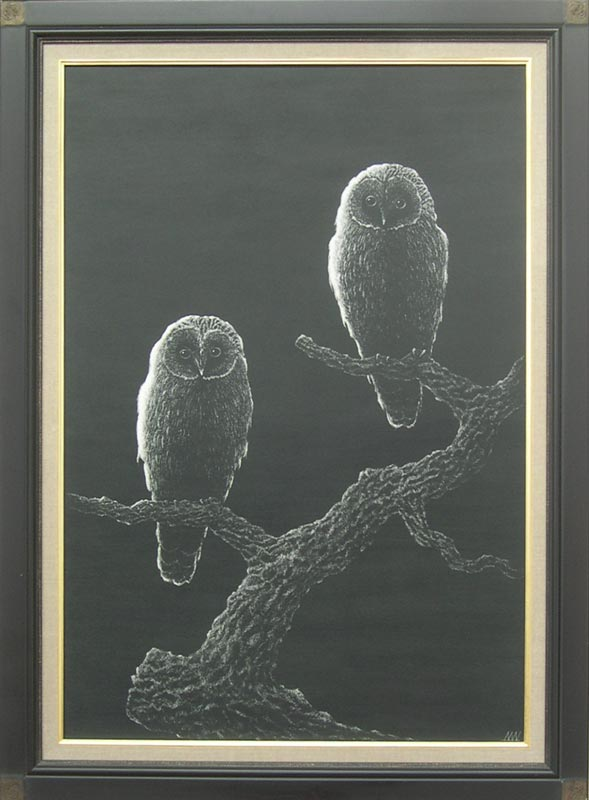 絵画 油絵 渡辺ムサシ 【ふくろう】(M20号) 送料無料 【肉筆】【油絵】【静物・動物画】【変型特寸】