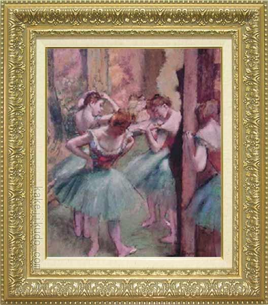 ドガ 絵画 踊り子、ピンクとグリーン F8号 送料無料 【複製】【美術印刷】【世界の名画】【8号】