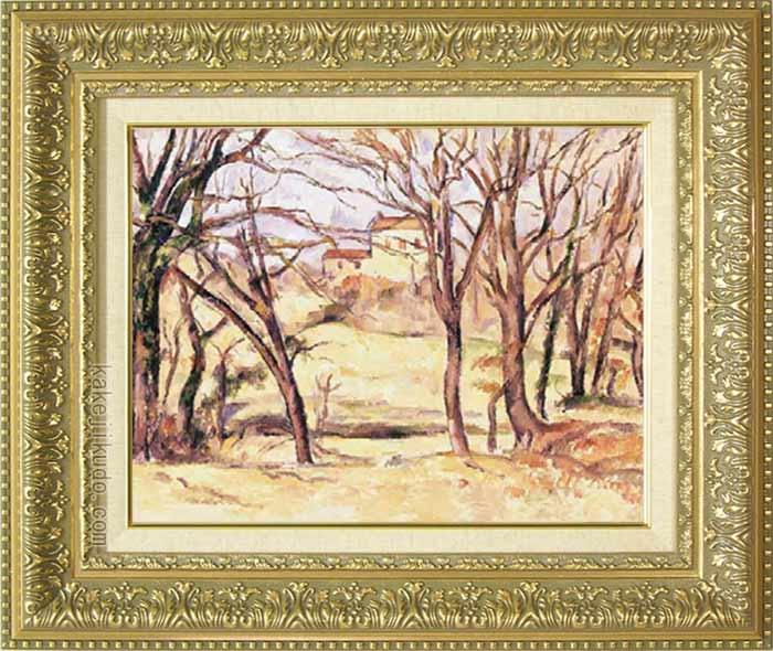 セザンヌ 絵画 ル・トロネ街道沿いの木と家 F6号 送料無料 【複製】【美術印刷】【世界の名画】【6号】
