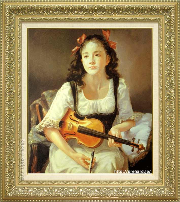 奥龍之介 絵画 バイオリンを持つ少女 F10号 送料無料 【複製】【美術印刷】【世界の名画】【10号】