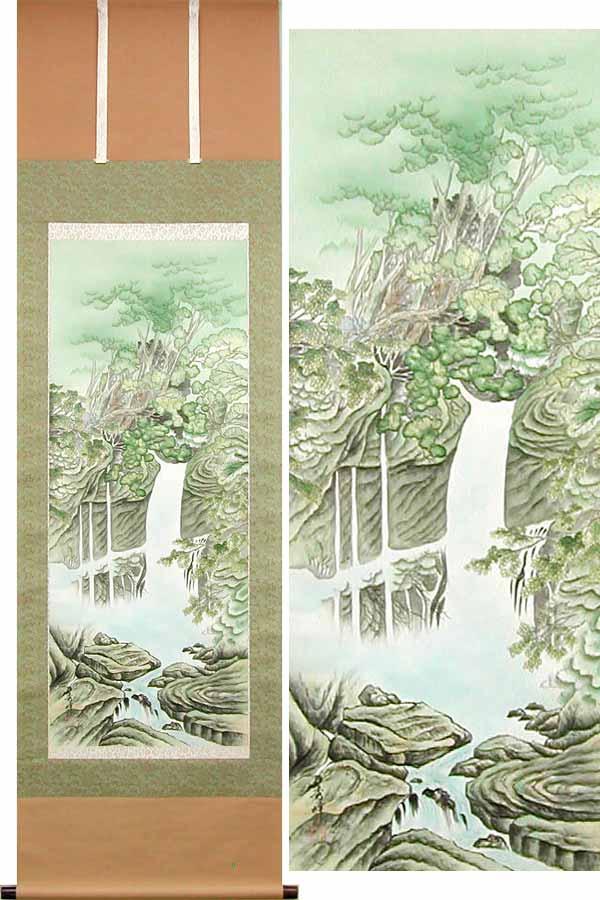掛け軸 青緑滝山水 (平野秀峰) (掛軸小物なし) 送料無料 【掛軸】