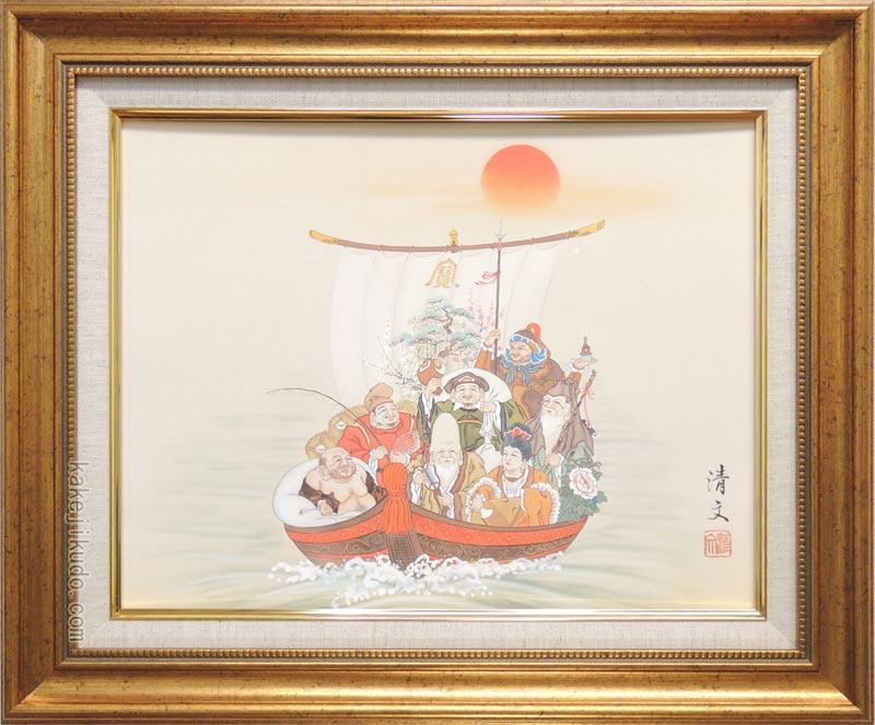 絵画 日本画 七福神宝舟 (加藤清文) 送料無料 【複製】【日本画】【静物・動物画】【6号】