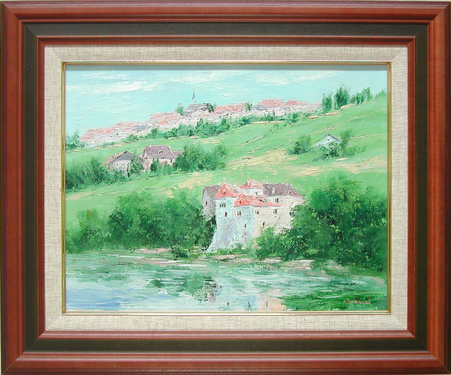 絵画 緑の丘 スイス レマン湖 (荒井秀幸) 送料無料 【肉筆】【油絵】【外国の風景】【6号】