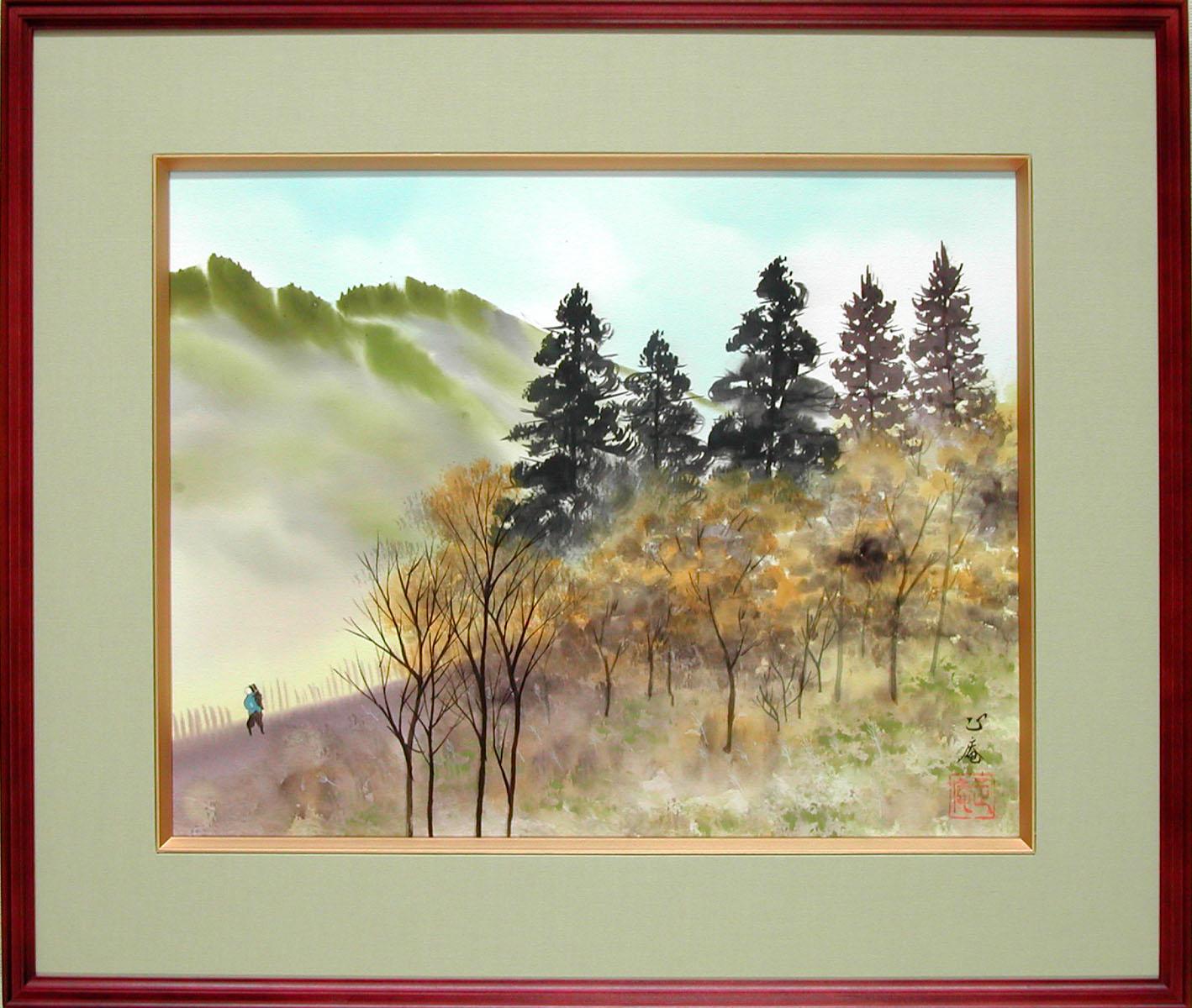 絵画 日本画 彩色山水 (坪内正庵) 送料無料 【肉筆】【日本画】【日本の風景】【6号】