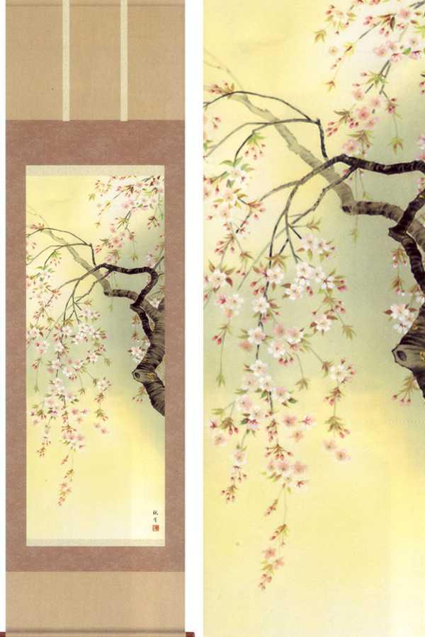 送料無料 (森山観月) 掛軸 桜花爛漫 掛け軸