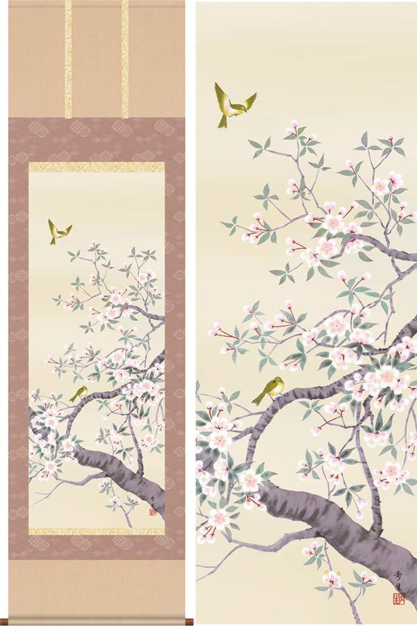 掛け軸 桜花 (北山歩生) 送料無料 掛軸