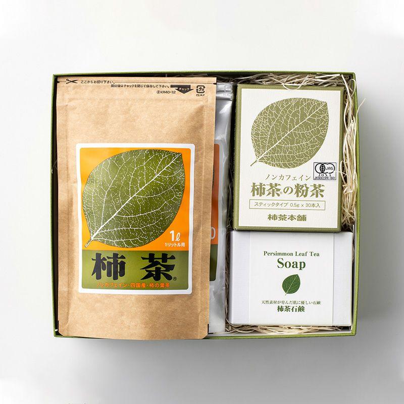 公式ショップ 柿茶おもてなしギフトセット マグカップ用×1袋 新品 送料無料 1L用×1袋 石鹸×1個 A-1 粉茶30本×1箱