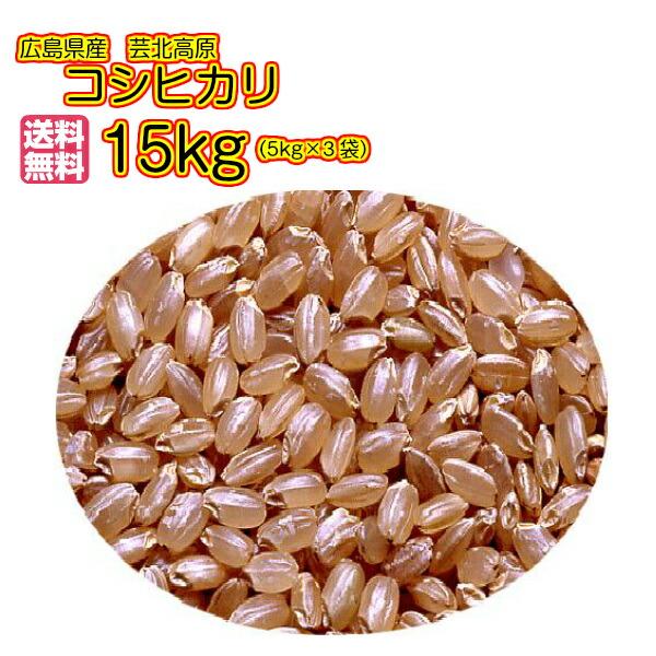送料無料 広島県産コシヒカリ 15kg 玄米 5kg×3緑袋芸北高原コシヒカリ 15kg 清流米 令和元年産 1等米