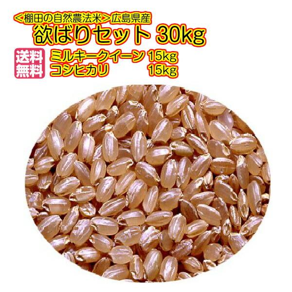 送料無料 広島県産コシヒカリ 15kgと広島県産ミルキークイーン 15kg= 30kgセット 玄米 欲ばりセット