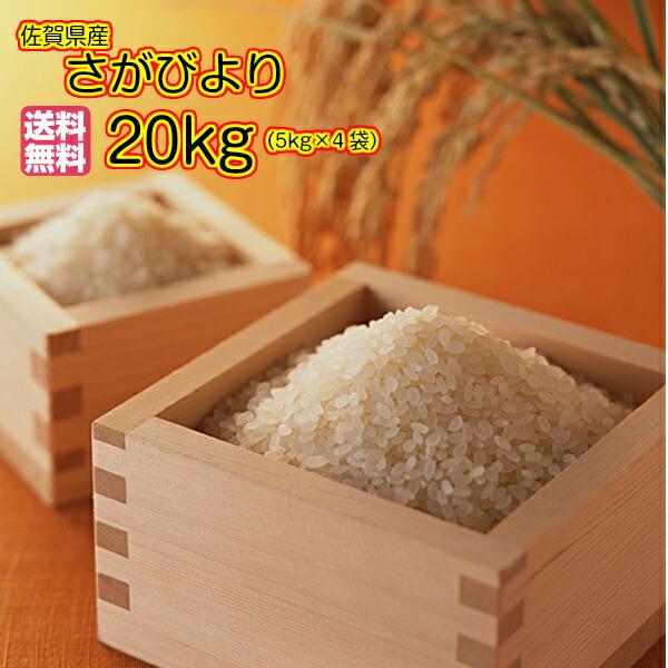 送料無料 佐賀県産さがびより 20kg 5kg×4袋 特A米ゴールド袋30年産1等米