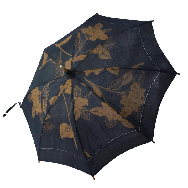 麻の日傘 藍渋染め紫陽花