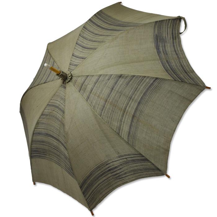 UVカット  麻のひがさ 刈安染 シケ引き市松
