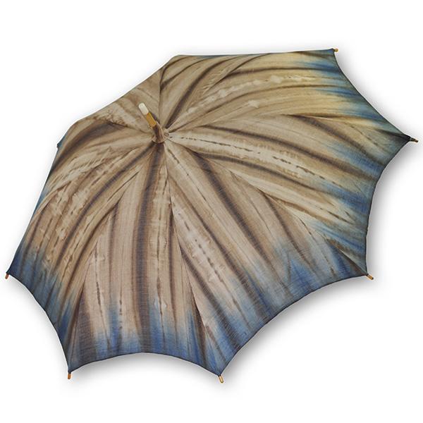 麻の日傘:藍渋染め裾ぼかし