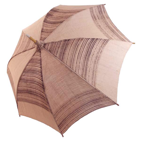 麻の日傘:柿渋染め シケ引き市松