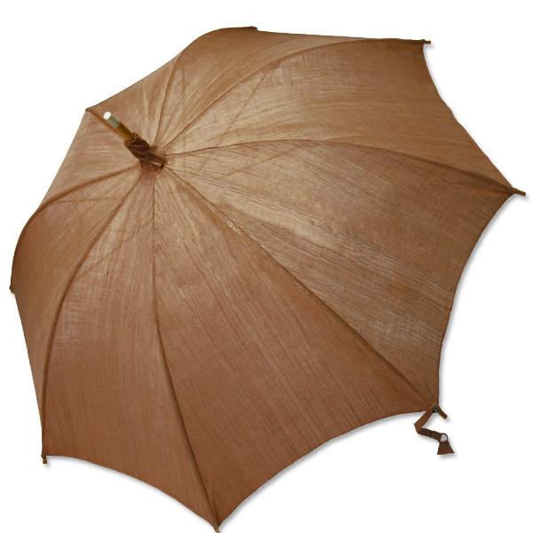 麻の日傘:柿渋染め無地(濃)