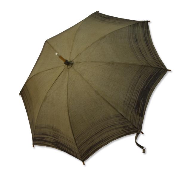 麻の日傘 刈安染めにシケ模様