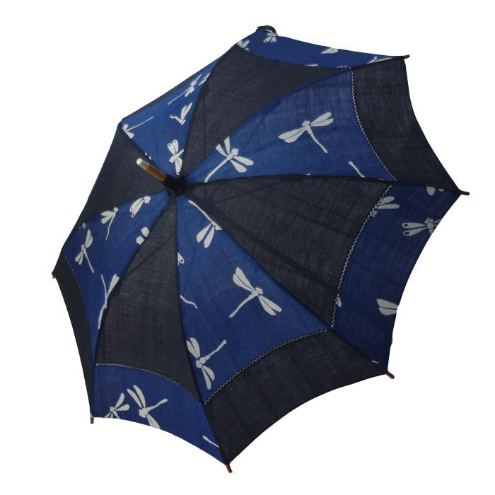 麻の日傘 藍染めと藍鉄染めの市松 とんぼ