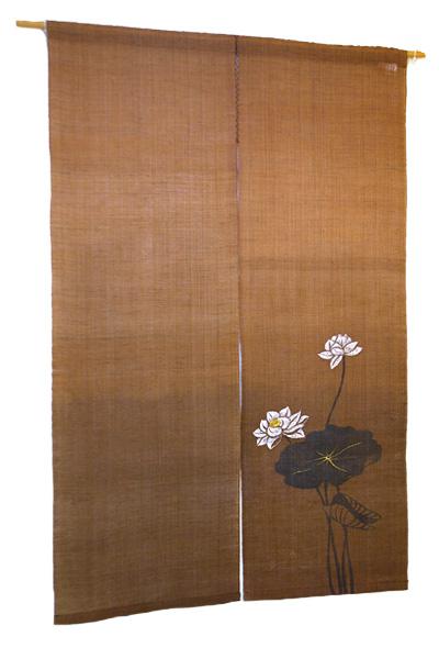 本麻柿渋染め暖簾(のれん) 柿渋染めぼかしに蓮の花