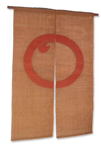 本麻柿渋染め暖簾(のれん) 紅柄円相