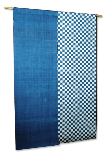 本麻藍染め暖簾(のれん)  藍染に市松