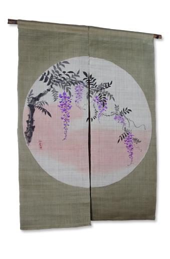 本麻草木染め暖簾(のれん)  丸窓から藤