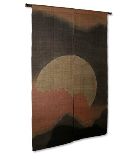 本麻柿渋染め暖簾(のれん) おぼろ月