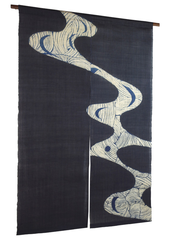The natural hemp cloth indigo plant dyeing with persimmon tannin noren (noren) hills and rivers