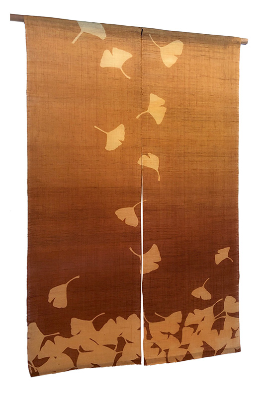 本麻柿渋染め暖簾(のれん)銀杏