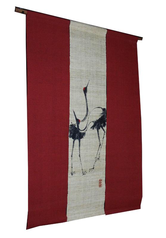 鶴に紅柄 本麻紅柄染め暖簾(のれん)