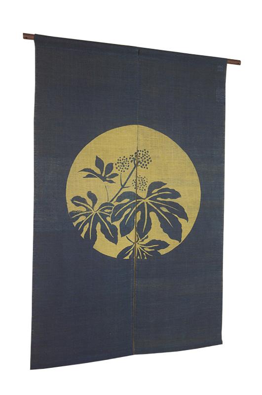 本麻柿渋染暖簾(のれん) 藍ざくろにヤツデ