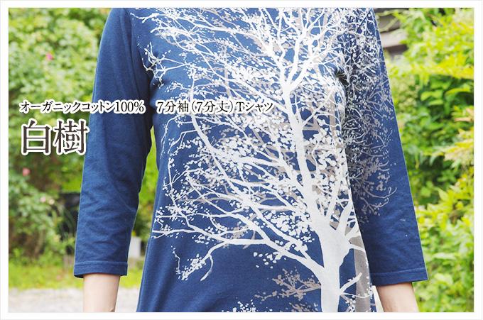 オーガニックコットン7分袖(7分丈)Tシャツ:白樹