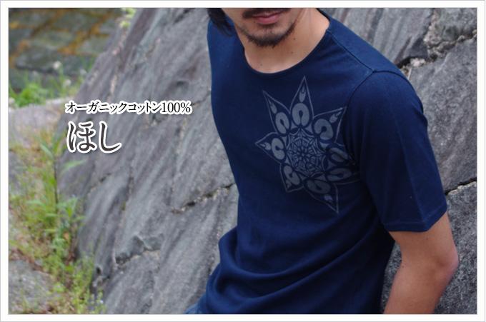 藍渋染めオーガニックコットンTシャツ ほし