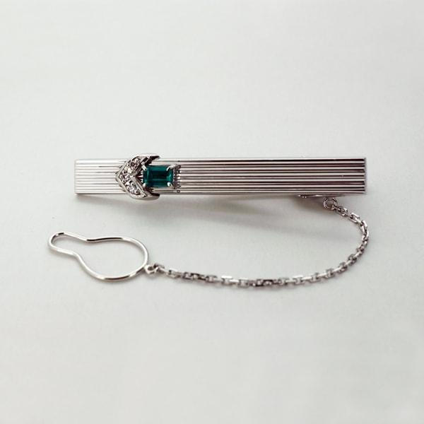 K14 ホワイトゴールド エメラルド ダイヤモンド ネクタイピン 日本製ネクタイピン エメラルド ダイアモンド ゴールド ジュエリー メンズ 男性 ギフト プレゼント ラッピング 送料無料