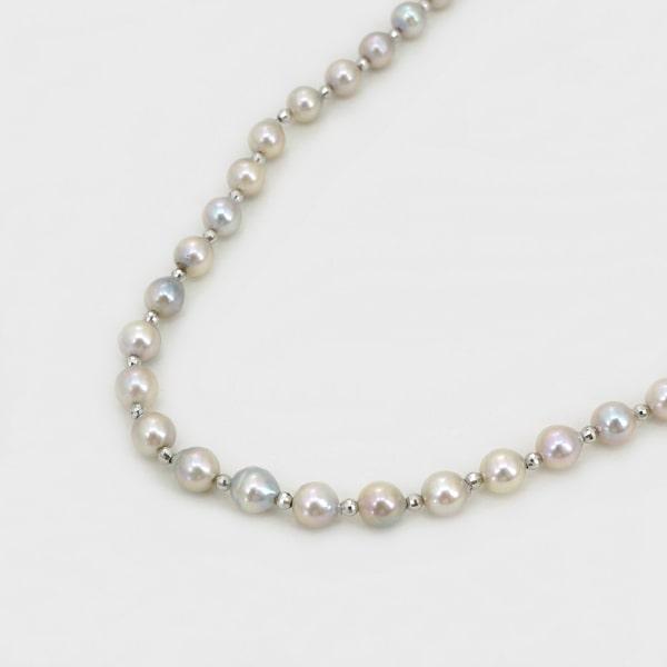 シルバー パール ネックレス 日本製ネックレス 真珠 シルバー レディース ジュエリー ギフト プレゼント ラッピング 送料無料