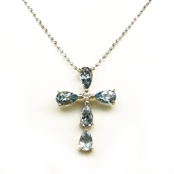 K18 ホワイトゴールド アクアマリン ダイヤモンド クロス プチネックレス 日本製ネックレス ペンダント ダイアモンド アクアマリン 十字架 ゴールド k18 18k 18金 レディース ジュエリー ギフト プレゼント ラッピング 送料無料
