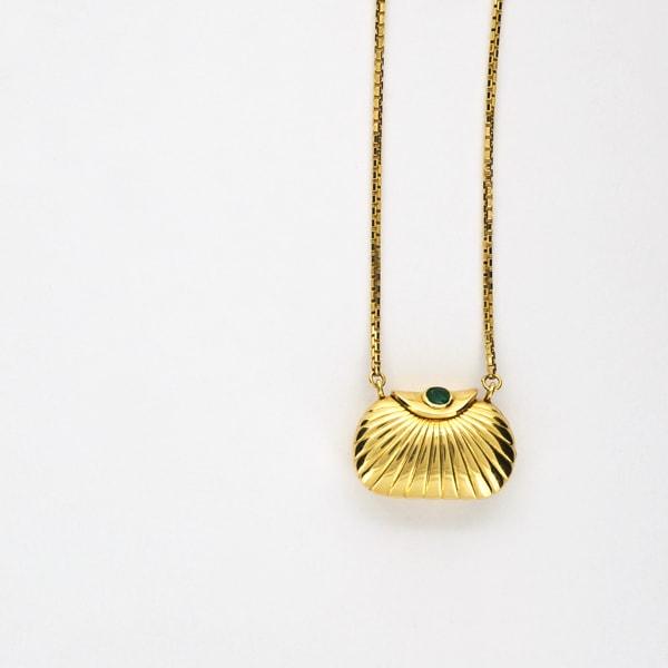 K18 イエローゴールド エメラルド バッグ プチネックレス 日本製ネックレス ペンダント エメラルド バッグ ゴールド k18 18k 18金 レディース ジュエリー ギフト プレゼント ラッピング 送料無料