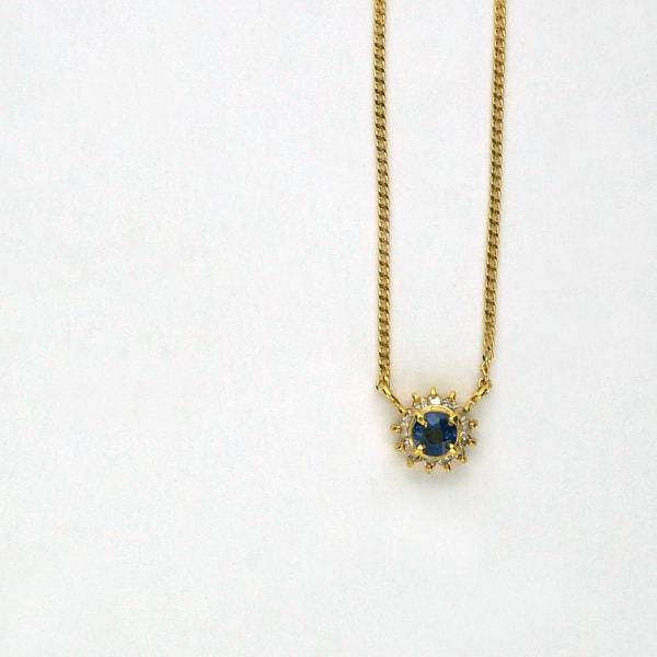 K18 イエローゴールド ダイヤモンド サファイア プチネックレス 日本製ネックレス ペンダント ダイアモンド サファイア ゴールド k18 18k 18金 レディース ジュエリー ギフト プレゼント ラッピング 送料無料