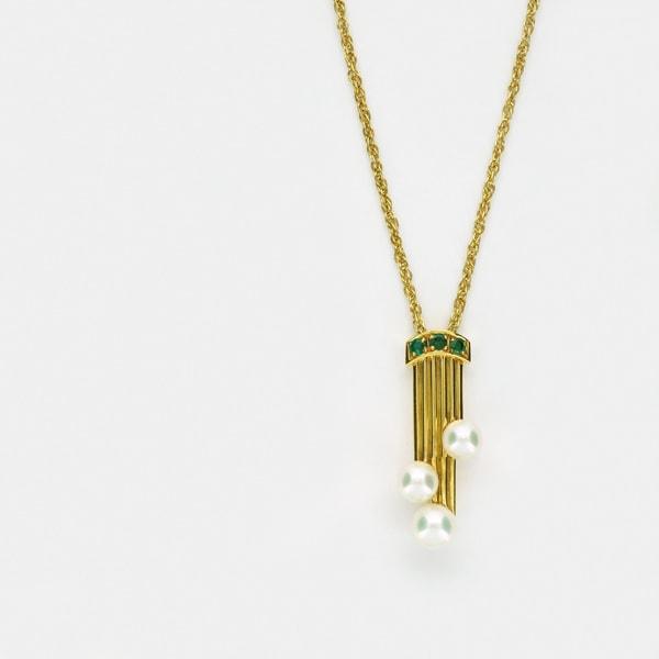 K18 イエローゴールド エメラルド パール プチネックレス 日本製ネックレス ペンダント 真珠 エメラルド ゴールド k18 18k 18金 レディース ジュエリー ギフト プレゼント ラッピング 送料無料
