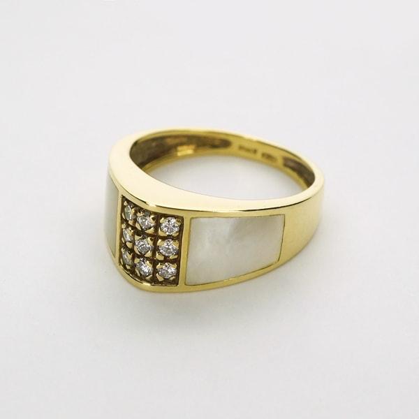 K18 イエローゴールド ダイヤモンド ホワイト シェル リング イタリア製指輪 ダイアモンド 貝 ゴールド k18 18k 18金 レディース ジュエリー ギフト プレゼント ラッピング 送料無料