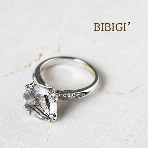 ビービージー K18 ホワイトゴールド ダイヤモンド ルチルクォーツ リング イタリア製指輪 ダイアモンド クォーツ ゴールド k18 18k 18金 レディース ジュエリー ギフト プレゼント ラッピング 送料無料