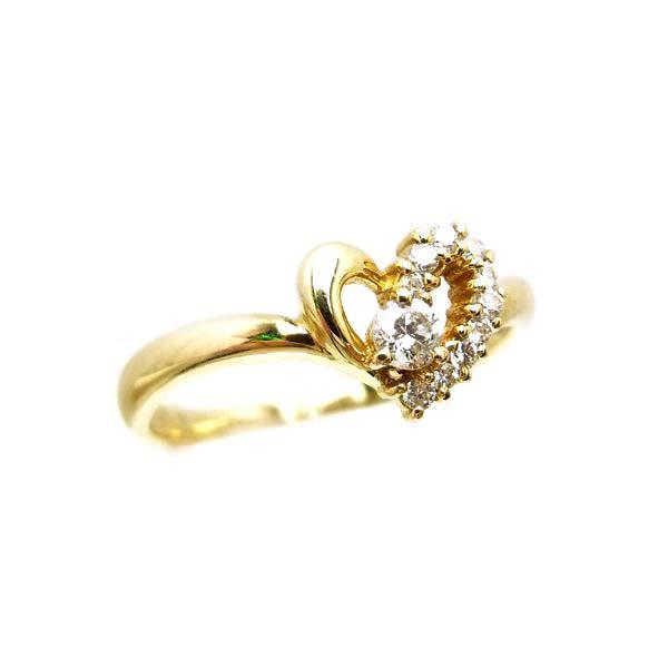 K18 イエローゴールド ダイヤモンド ハート リング 日本製指輪 ダイアモンド ハート ゴールド k18 18k 18金 レディース ジュエリー ギフト プレゼント ラッピング 送料無料
