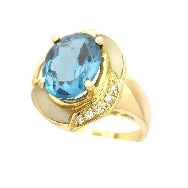 K18 イエローゴールド ブルートパーズ ダイヤモンド リング 日本製指輪 ダイアモンド トパーズ ゴールド k18 18k 18金 レディース ジュエリー ギフト プレゼント ラッピング 送料無料