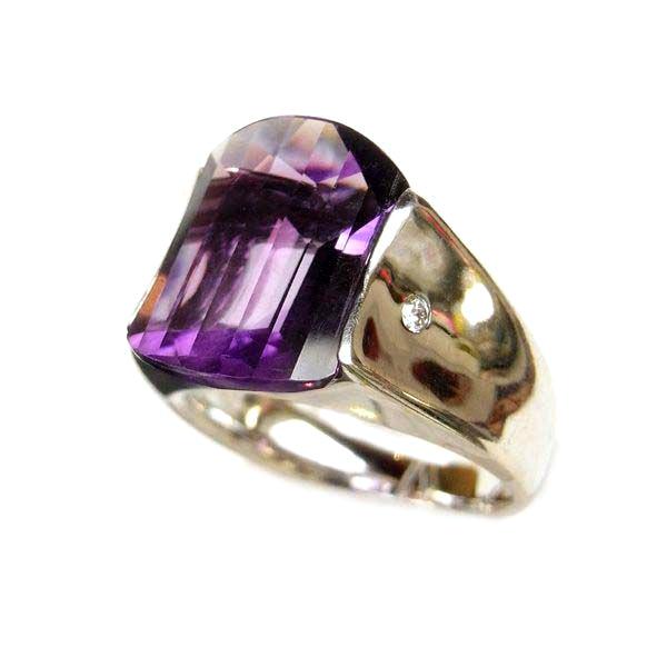 K18 ホワイトゴールド アメジスト ダイヤモンド リング 日本製指輪 ダイアモンド アメジスト ゴールド k18 18k 18金 レディース ジュエリー ギフト プレゼント ラッピング 送料無料