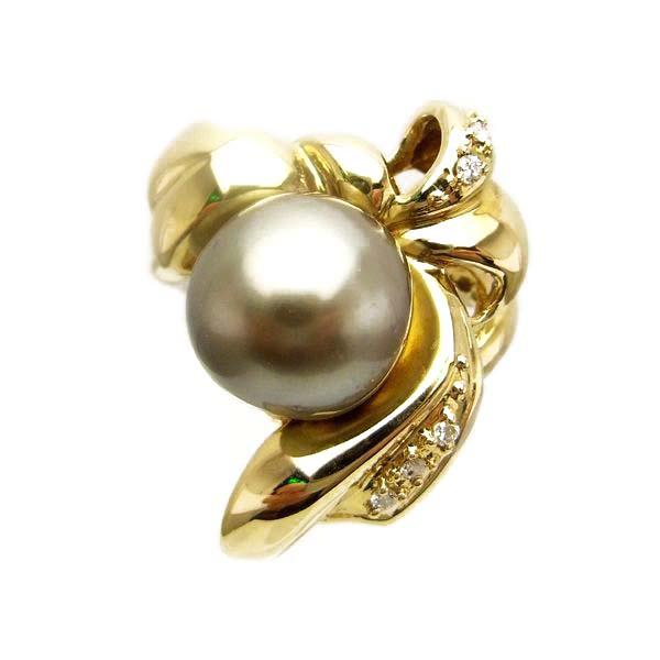 K18 イエローゴールド グレー パール ダイヤモンド リング 日本製指輪 ダイアモンド 真珠 ゴールド k18 18k 18金 レディース ジュエリー ギフト プレゼント ラッピング 送料無料