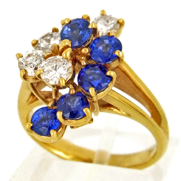 K18 イエローゴールド サファイア ダイヤモンド リング 日本製指輪 サファイア ゴールド k18 18k 18金 レディース ジュエリー ギフト プレゼント ラッピング 送料無料
